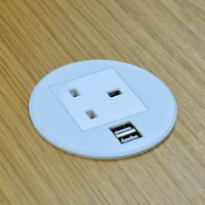 GS80P - In-Desk Power Grommet with Dual USB Charger (WHITE)